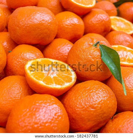 Lot of mandarin orange /Mandarin, selective focus - stock photo