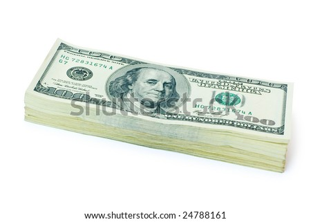 lot of money isolated on white background