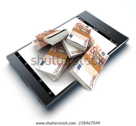 Lot of money on top of a smart phone - stock photo