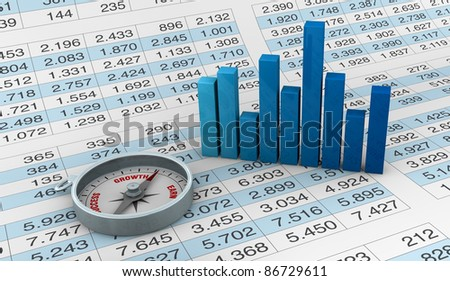 lot of numbers in a spreadsheet and a compass and charts over it (3d render) - stock photo
