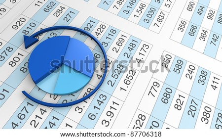 lot of numbers in a spreadsheet and a pie chart over it (3d render) - stock photo