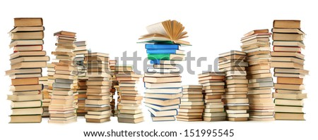 Lot of old books isolated on white - stock photo
