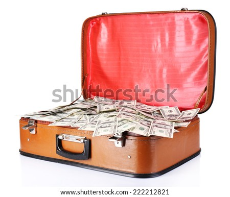 Lot of one hundred dollar bills in old suitcase isolated on white - stock photo