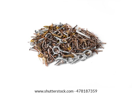 Lot of screws, nails and nut white background
