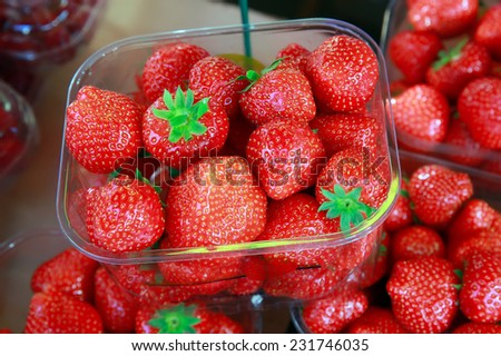 lot of strawberries in the market - stock photo