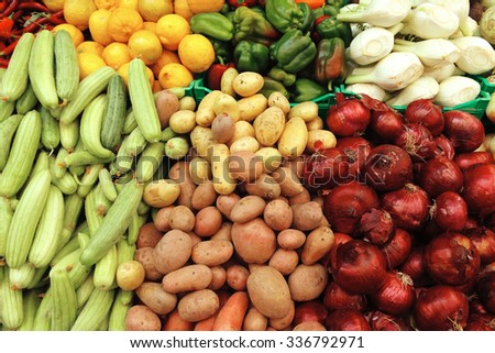 lot of vegetables on market