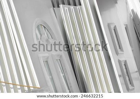 Lot of white plastic door  - stock photo