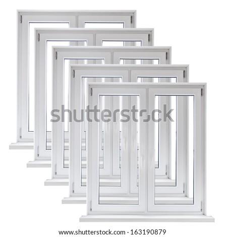 Lot of white plastic double door windows on white background - stock photo
