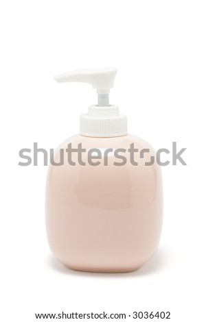 Lotion dispenser on white background