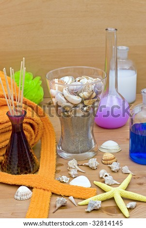 lotions perfumes accessories, bathroom furniture - stock photo