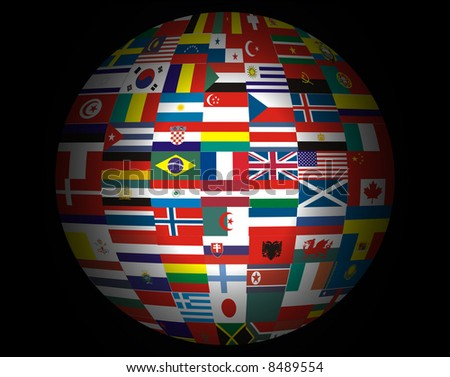 Lots Flags of Countries in the World . - stock photo