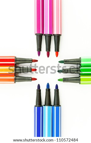 Lots of Assorted Colors Marker Pens Isolated on White Background