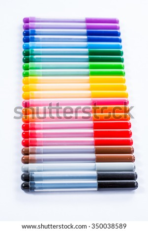 lots of assorted colors marker pens isolated on white background  - stock photo