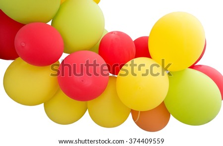 Lots of balloons on white background - stock photo