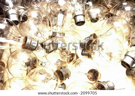 lots of bayonet lightbulbs from above - stock photo