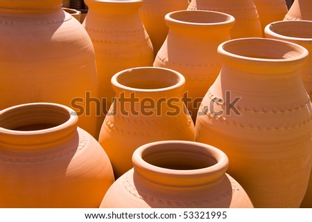 Lots of big vases with nice lightning - stock photo
