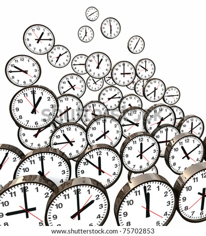 Lots of black and white clocks floating in air showing different time, 3D