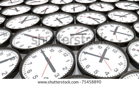 Lots of black and white clocks showing different time, 3D