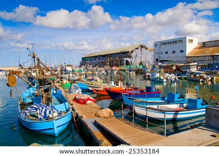 Lots of boats in picturesque port of Tel Aviv, Israel - stock photo