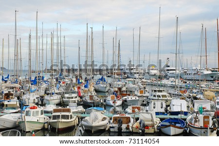 Lots of boats in San Remo port, Italy - stock photo