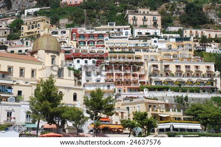 Lots of buildings on the moutain, Positano town - stock photo