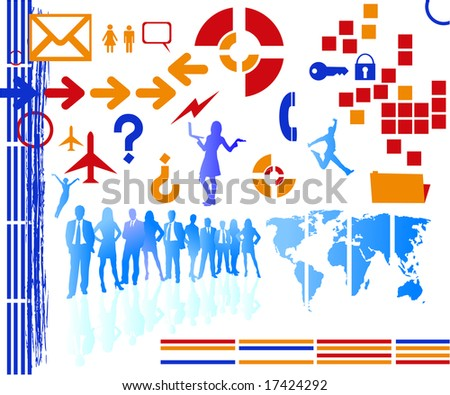 lots of business icons and silhouettes for your designs - stock photo