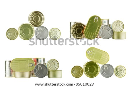 lots of cans isolated on white