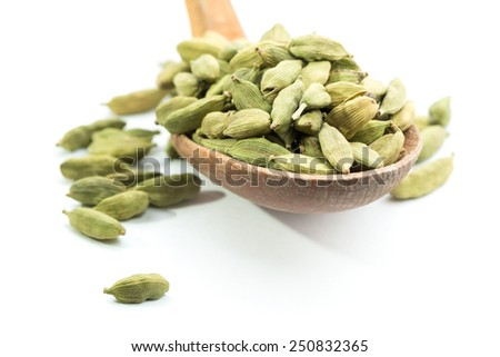 Lots of cardamom pods on wooden spoon. Isolated. White background. - stock photo