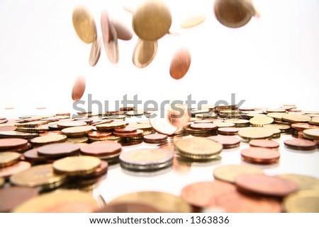 lots of coins symbolize money rain - stock photo
