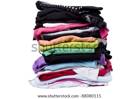 lots of color on white washing and ironing clothes after joining forces - stock photo