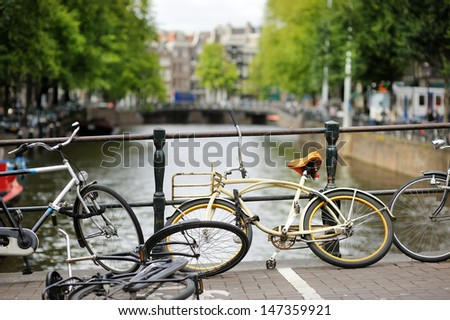 Lots of colorful bicycles as a symbol of Amsterdam