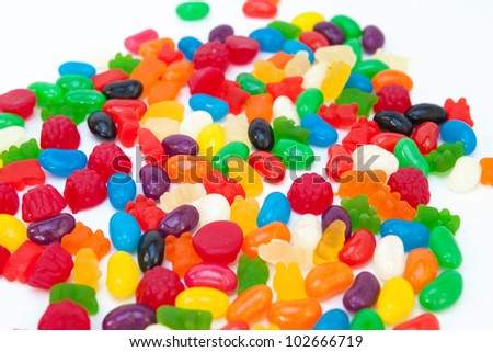 Lots of colorful candy sweets