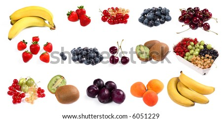 lots of colorful fruit isolated on white - stock photo