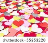 Lots of colorful hearts out of paper lying on each other - stock photo