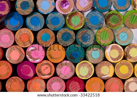lots of colorful pencil crayon ends - stock photo