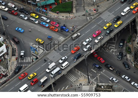 lots of colurful taxis form above, thailand - stock photo