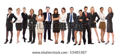 lots of different business people on white background - stock photo