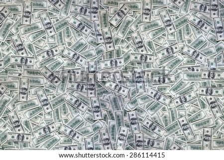 lots of dollar bills, 100 - stock photo