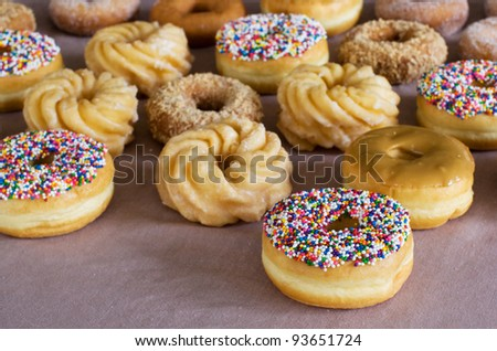 lots of doughnuts - stock photo