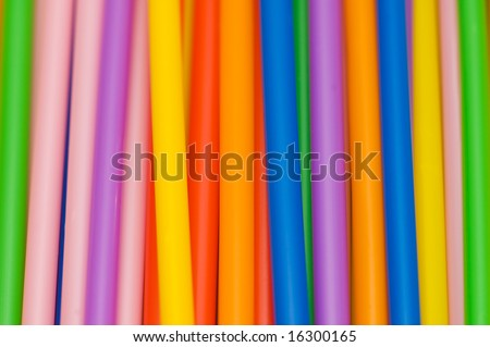 Lots of drinking straws of various colours
