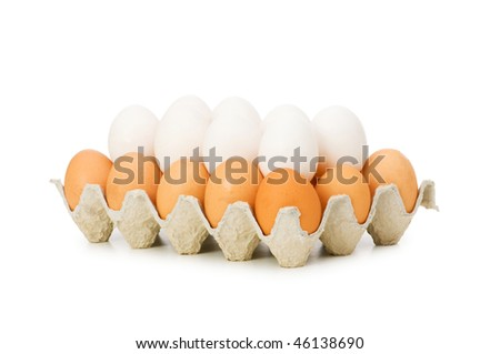 Lots of eggs in the carton isolated on white