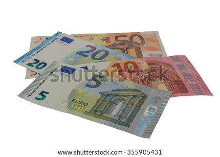 lots of euro banknotes free cutted - stock photo