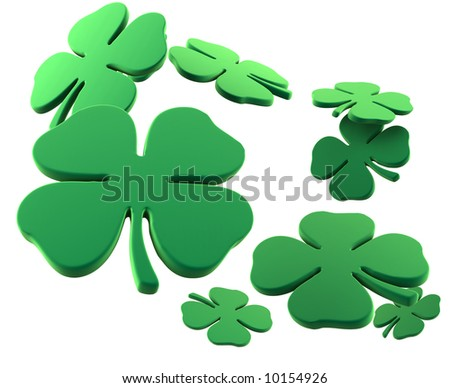 Lots of four leaf clovers for St. Patrick's Day. 3D rendering.