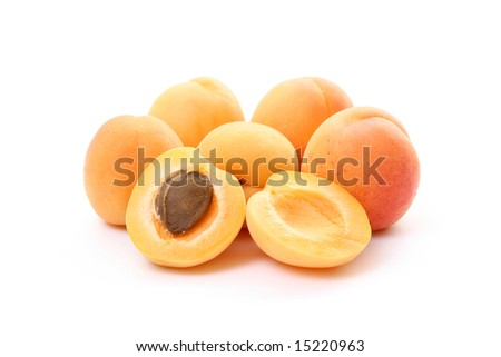 lots of fresh apricots isolated on white - stock photo