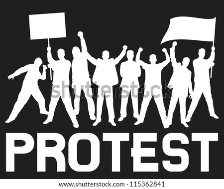 lots of furious people protesting (a group of people protesting, protest, demonstrator, protest man, demonstrations, protest, demonstrator, hooligan, fan, protest design, protest poster) - stock photo