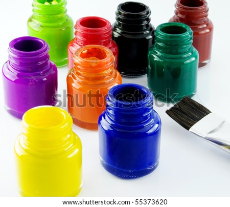 lots of glass paint pots - stock photo