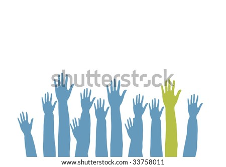 Lots of hands up, at a party. Isolated - stock photo