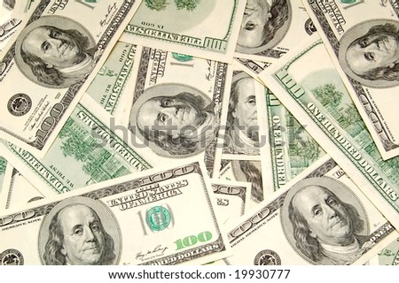 Lots of hundred dollar bills. Background image