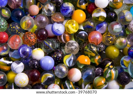 Lots of marbles with different colours for background use - stock photo