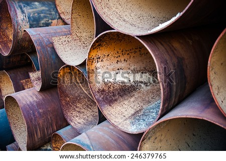 Lots of metal pipes put together. - stock photo